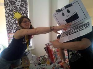 Morag Kewel with Laptop Guy