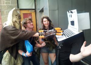 'Scarecrow', 'Tank Girl' and 'Peter Parker' menacing Laptop Guy