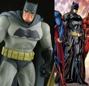 Frank Miller's Dark Knight Returns and Jim Lee's New 52 Batman.<br>Click to enlarge.
